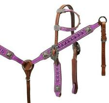 Showman PURPLE Paisley Print Leather Bridle and Breast Collar Set! HORSE TACK!