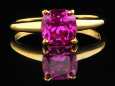1.40Ct Cushion Shape 14KT Yellow Gold Natural Pink Tourmaline Solitaire Ring