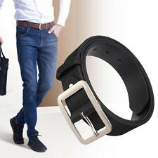 Casual Faux Leather Belt Metal Pin Buckle Vintage Mens belts for Pants Black ZH