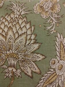 "Pottery Barn Margaret Shower Curtain 69x72"" Green Ivory Gold Jacobean Floral"