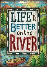 Life is Better on the River Great Outdoors Boating Camping Wilderness Sm Flag DS