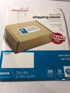 """Office Depot Brand White Inkjet/Laser Shipping Labels, 2"""" x 4"""", 250-Pk"""