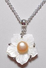 "22mm Shell flower with Peach Freshwater Pearl 18"" chain"