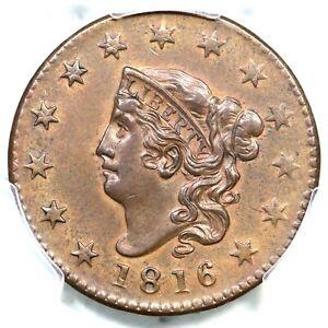 1816 N-4 R-2 PCGS AU 58 Matron or Coronet Head Large Cent Coin 1c