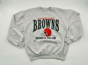 Vintage 90's Cleveland Browns Russell Athletic Sz XL Long Sleeve Sweatshirt Gray