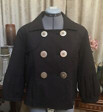 Fantastic Elle Brown Black Double Breasted Spring Jacket Work Casual Size M