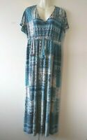 WOMEN'S STYLE & CO BLUE AND WHITE FLORAL V-NECK LONG STRETCHY MAXI DRESS SIZE L