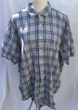Timberland XL Button Front Short Sleeve Shirt Blue Plaid Mens