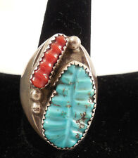 Turquoise Ring Set In Sterling Silver Dead Pawn Navajo Handmade Sleeping Beauty