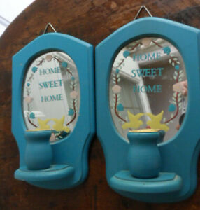 Pair Country Blue Home Sweet Home Mirrored Back Wall Candle Sconces Hangings