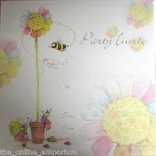 10 x GENERAL PARTY INVITATIONS & ENVELOPES FLOWER & BEE WITH SILVER TEXT