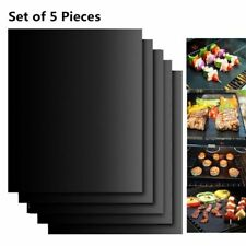 5 Stück Dauer Grillmatte Schwarz Antihaft Grillunterlage Backmatte BBQ Matte