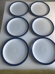 6 Denby Imperial Blue Dinner Plates 26cm