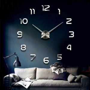 Moderno bricolaje reloj de pared grande espejo 3D superficie pegatina decoración