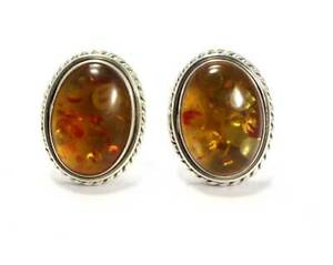 Natural Amber 925 Sterling Sliver Gemstone Cufflinks Mens Jewelery Free Shipping