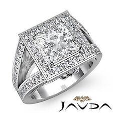 Princess Diamond Halo Pre-Set Engagement Ring GIA F Color VS2 Platinum 950 2.5ct