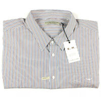 RM Williams Mens Collins White Striped Long Sleeve Shirt 4XB NEW $129 rrp