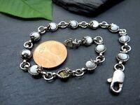 Schönes 925 Silber Armband Schillernde Weiße Steine Perlmutt? Hippi Natur Defekt