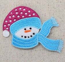 Iron On Embroidered Applique Christmas Winter Snowman Turquoise Blue Scarf