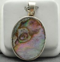 STERLING SILVER SHINING SHELL OVAL CHARM PENDANT#FMC331
