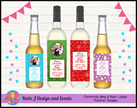 ** PERSONALISED CHRISTMAS XMAS GIFT WINE BEER BOTTLE LABELS GIFTS PRESENTS **