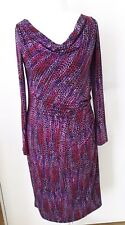 GINA BACCONI PURPLE  MIX COWL NECKLINE DRESS  UK12 RRP £150