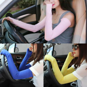 Women Summer Arm Sleeves Cover Outdoor UV Protection Cycling Driving Long Gloves