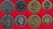 El Salvador set of 4 coins: 1 - 10 centavos 1974-1995 UNC