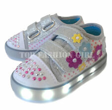 Light Up Girls Baby Toddler Glitter Strap Canvas Sneaker Tennis Shoe Pink Purple