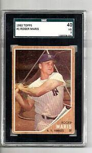 1962 Topps Roger Maris #1 Graded SGC 40 VG 3