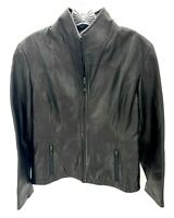 Kenneth Cole Reaction Womens Black Full Zip Soft Leather Jacket Size S Small