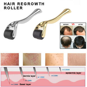 Hair Regrowth Micro-needling Roller Anti Hair Loss 0.25/0.5/1/1.5mm Gold Silver