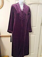 OSCAR DE LA RENTA Womens Size Small Purple Velour Long Lounge Robe 1/4 Zip Front