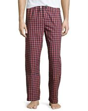 PSYCHO BUNNY LOUNGE PANTS RED NAVY CHECK MENS SIZE LARGE NEW