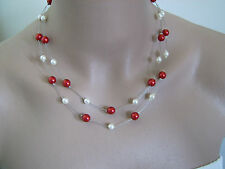 Collier couleur Ivoire/rouge, p robe de Mariée/Mariage/soirée, perles nacrées