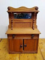 Cupboard Hutch Sideboard Primitive Doll Furniture Antique Miniature w Mirror