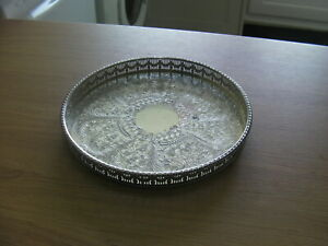 VINTAGE SILVER PLATED VINERS GALLERY EDGE SERVING TRAY ,27cm diameter x 3cm