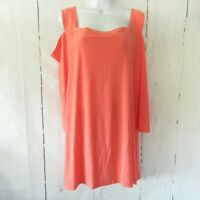New Attitudes By Renee Tunic Top 2X Orange Coral Jersey Plus Size Cold Shoulder