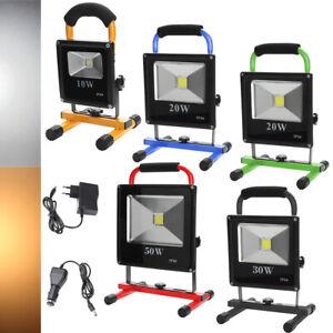LED Akku Fluter 10W-50W Strahler Baustrahler Handlampe Arbeitsleuchte Flutlicht