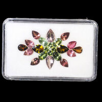 VVS Natural Tourmaline 22 Pcs Multi Color Sparkling Mix Cut Gemstones 3mm-8mm