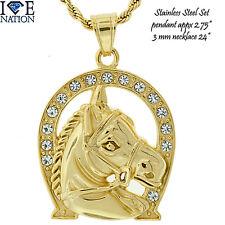 Stainless Steel  HorseShoe Pendant  + Necklace Premium Plating STSET325 NEW
