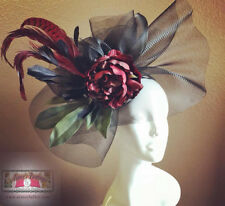 ROYAL ASCOT Kentucky DERBY Fascinator Hat Deep Red Flower Black Melbourne Cup