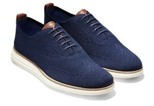 NEW Cole Haan Original Grand Cotton Stitchlite Wingtip Shoes Navy Blue/Ivory 13M