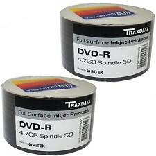 100 PACK TRAXDATA DVD-R 8X SPEED FULL FACE INKJET PRINTABLE 4.75GB BLANK DISCS