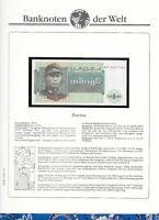 Banknotes of World Burma 1972 1 Kyat UNC P56 Prefix NP