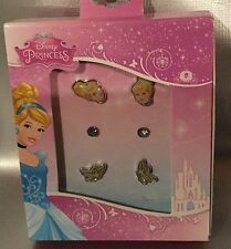 DISNEY PRINCESS CINDERELLA EARRINGS 3 Pack Of Stud Style - Princess Gift NEW
