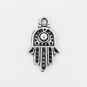 20pcs Tibetan Silver Hamsa Hand Palm Charms Pendants Fit DIY Jewelry Makings