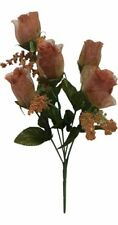 5 Roses Brown Wedding Centerpieces Bridal Bouquet Silk Flowers Sheer Petals