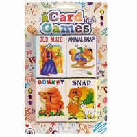 Pack of 4 Classic Chldrens Card Games Kids Travel Fun Old Maid Snap Donkey