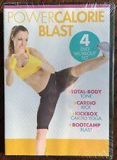 Gaiam Power Calorie Blast 4 DVD Workout Set Total Body Cardio Kickbox Bootcamp
